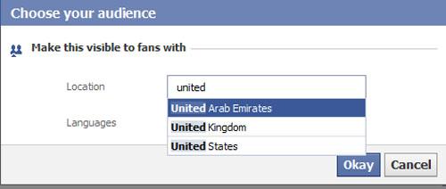 Custom Facebook page settings